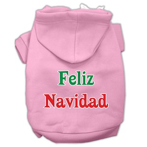 Feliz Navidad Screen Print Pet Hoodies Light Pink XXL (18)