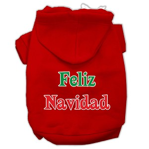 Feliz Navidad Screen Print Pet Hoodies Red Size XL (16)