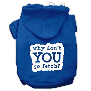 You Go Fetch Screen Print Pet Hoodies Blue Size XL (16)
