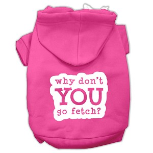 You Go Fetch Screen Print Pet Hoodies Bright Pink Size XS (8)