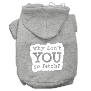 You Go Fetch Screen Print Pet Hoodies Grey Size Lg (14)
