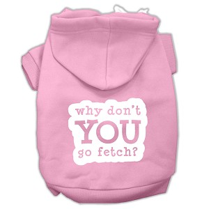 You Go Fetch Screen Print Pet Hoodies Light Pink Size Sm (10)
