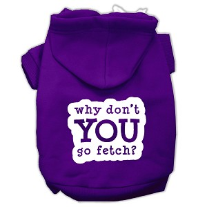 You Go Fetch Screen Print Pet Hoodies Purple Size Lg (14)