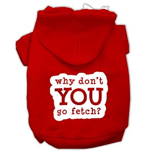You Go Fetch Screen Print Pet Hoodies Red Size XXL (18)