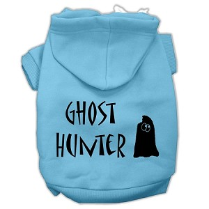 Ghost Hunter Screen Print Pet Hoodies Baby Blue with Black Lettering Med (12)