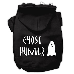Ghost Hunter Screen Print Pet Hoodies Black with Cream Lettering Sm (10)