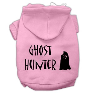 Ghost Hunter Screen Print Pet Hoodies Light Pink with Black Lettering Med (12)