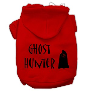 Ghost Hunter Screen Print Pet Hoodies Red with Black Lettering XS (8)