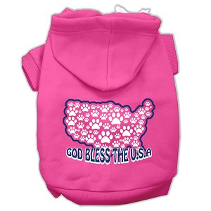 God Bless USA Screen Print Pet Hoodies Bright Pink Size L (14)