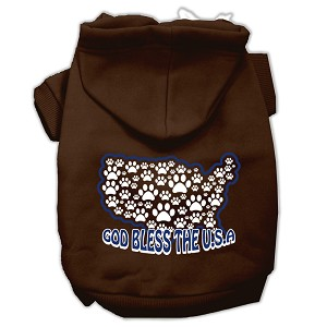 God Bless USA Screen Print Pet Hoodies Brown M (12)