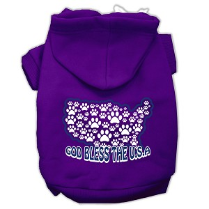 God Bless USA Screen Print Pet Hoodies Purple Size M (12)