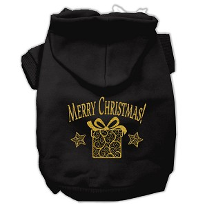 Golden Christmas Present Pet Hoodies Black Size Lg (14)