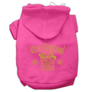 Golden Christmas Present Pet Hoodies Bright Pink Size Sm (10)