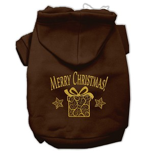 Golden Christmas Present Pet Hoodies Brown Size XS (8)