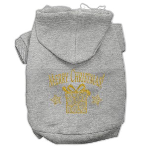 Golden Christmas Present Pet Hoodies Grey Size Sm (10)
