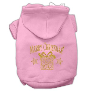 Golden Christmas Present Pet Hoodies Light Pink Size XXXL (20)
