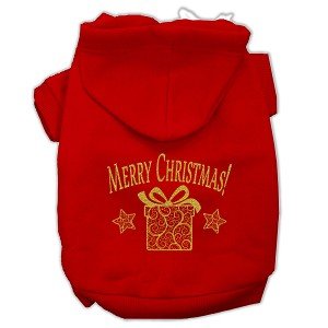 Golden Christmas Present Pet Hoodies Red Size Sm (10)