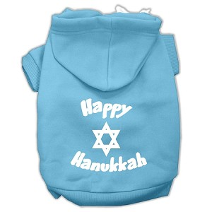 Happy Hanukkah Screen Print Pet Hoodies Baby Blue Size XL (16)