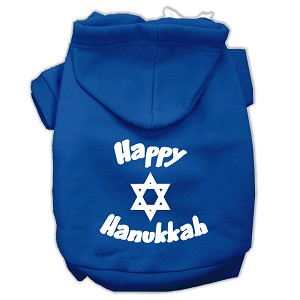 Happy Hanukkah Screen Print Pet Hoodies Blue Size Sm (10)