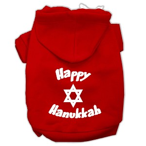 Happy Hanukkah Screen Print Pet Hoodies Red Size Med (12)