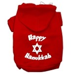 Happy Hanukkah Screen Print Pet Hoodies Red Size XS (8)
