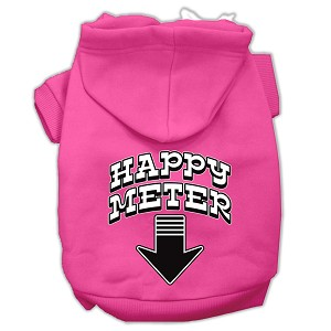Happy Meter Screen Printed Dog Pet Hoodies Bright Pink Size Lg (14)