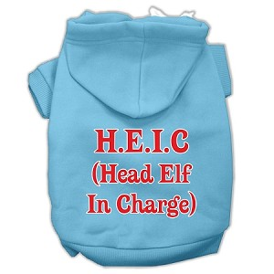 Head Elf In Charge Screen Print Pet Hoodies Baby Blue Size XXXL (20)