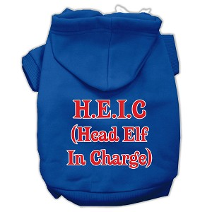 Head Elf In Charge Screen Print Pet Hoodies Blue Size Med (12)