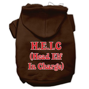 Head Elf In Charge Screen Print Pet Hoodies Brown Size XL (16)