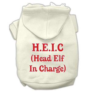 Head Elf In Charge Screen Print Pet Hoodies Cream Size XXXL (20)