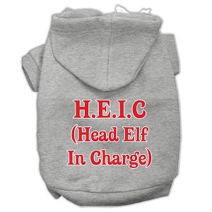 Head Elf In Charge Screen Print Pet Hoodies Grey Size Lg (14)