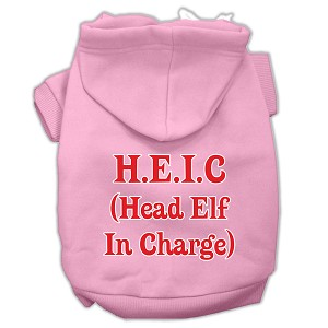 Head Elf In Charge Screen Print Pet Hoodies Light Pink Size Lg (14)