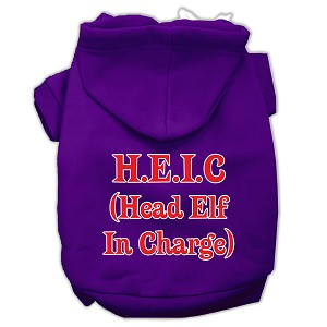 Head Elf In Charge Screen Print Pet Hoodies Purple Size XS (8)