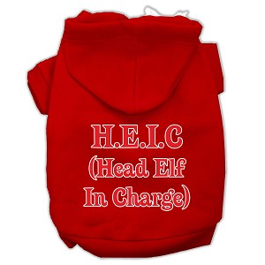 Head Elf In Charge Screen Print Pet Hoodies Red Size Med (12)