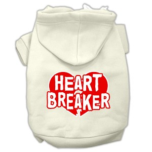 Heart Breaker Screen Print Pet Hoodies Cream Size XXXL (20)