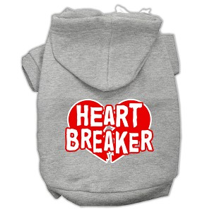 Heart Breaker Screen Print Pet Hoodies Grey Size Sm (10)