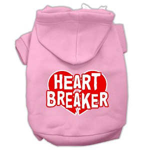 Heart Breaker Screen Print Pet Hoodies Light Pink Size XXL (18)