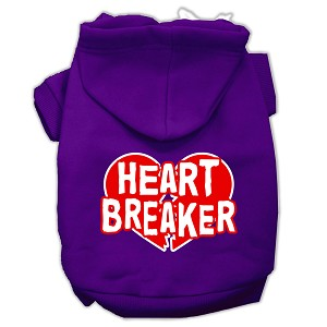 Heart Breaker Screen Print Pet Hoodies Purple Size Sm (10)