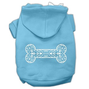Henna Bone Screen Print Pet Hoodies Baby Blue Size XXXL (20)