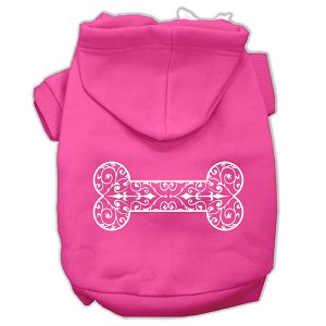 Henna Bone Screen Print Pet Hoodies Bright Pink Size Sm (10)