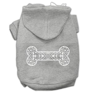 Henna Bone Screen Print Pet Hoodies Grey Size Sm (10)