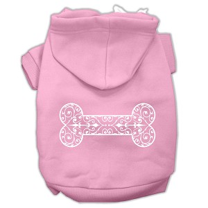 Henna Bone Screen Print Pet Hoodies Light Pink Size XXL (18)