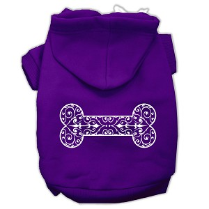 Henna Bone Screen Print Pet Hoodies Purple Size Sm (10)