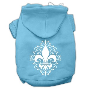 Henna Fleur De Lis Screen Print Pet Hoodies Baby Blue Size Lg (14)