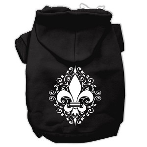 Henna Fleur De Lis Screen Print Pet Hoodies Black Size XL (16)