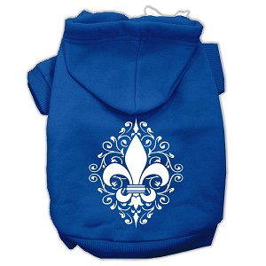 Henna Fleur de Lis Screen Print Pet Hoodies Blue Size Lg (14)