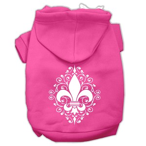 Henna Fleur De Lis Screen Print Pet Hoodies Bright Pink Size XL (16)