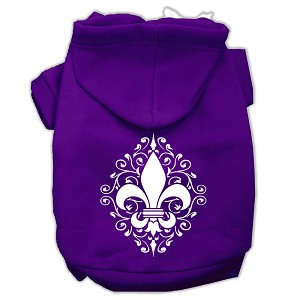 Henna Fleur De Lis Screen Print Pet Hoodies Purple Size Lg (14)