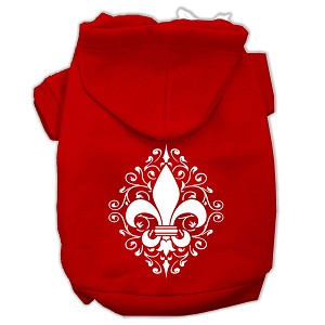 Henna Fleur De Lis Screen Print Pet Hoodies Red Size XS (8)