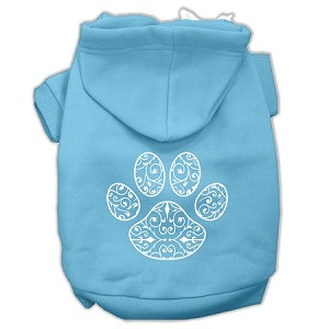Henna Paw Screen Print Pet Hoodies Baby Blue Size Med (12)